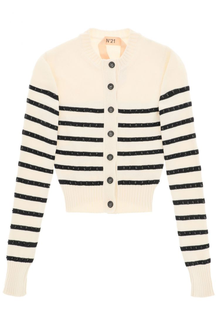 n.21 comfy at home  cardigan a righe con cristalli