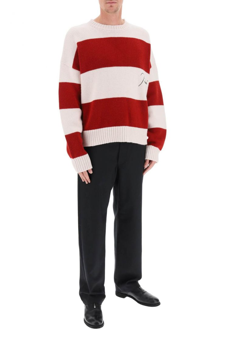 rhude pullovers striped sweater with embroidered logo