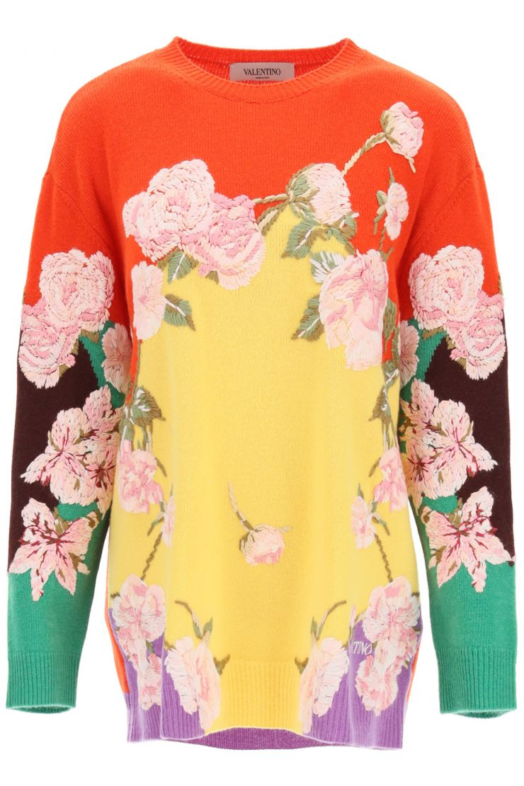 valentino pullovers embroidered sweater