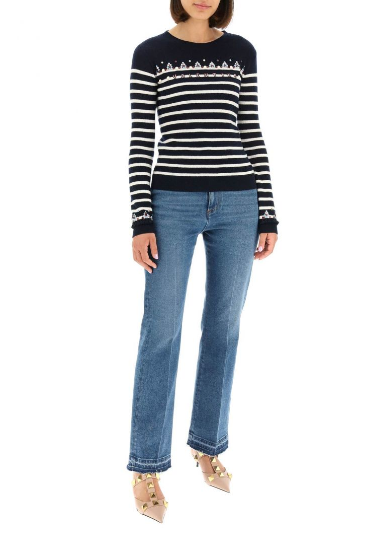 valentino pullovers sequin embroidered striped sweater
