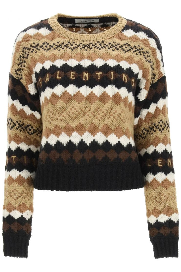 valentino pullovers short sweater with logo embroidery