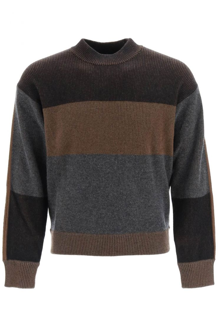 z zegna pullovers wool and cashmere striped sweater