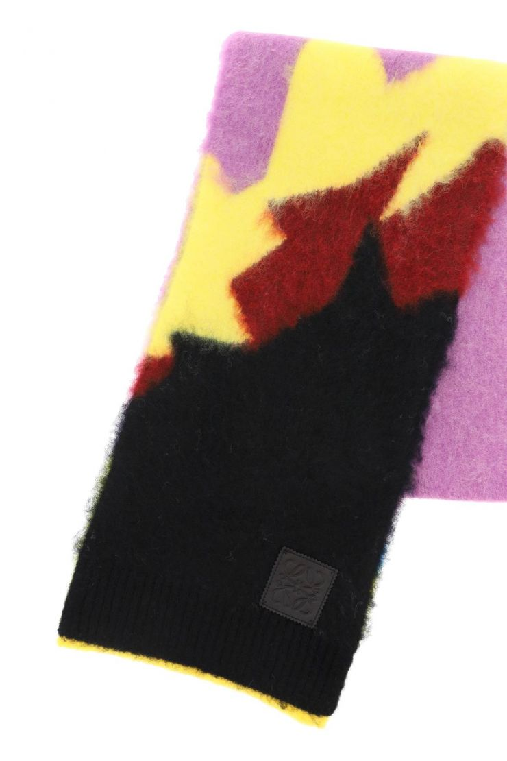 loewe scarves, hats and gloves color block intarsia scarf