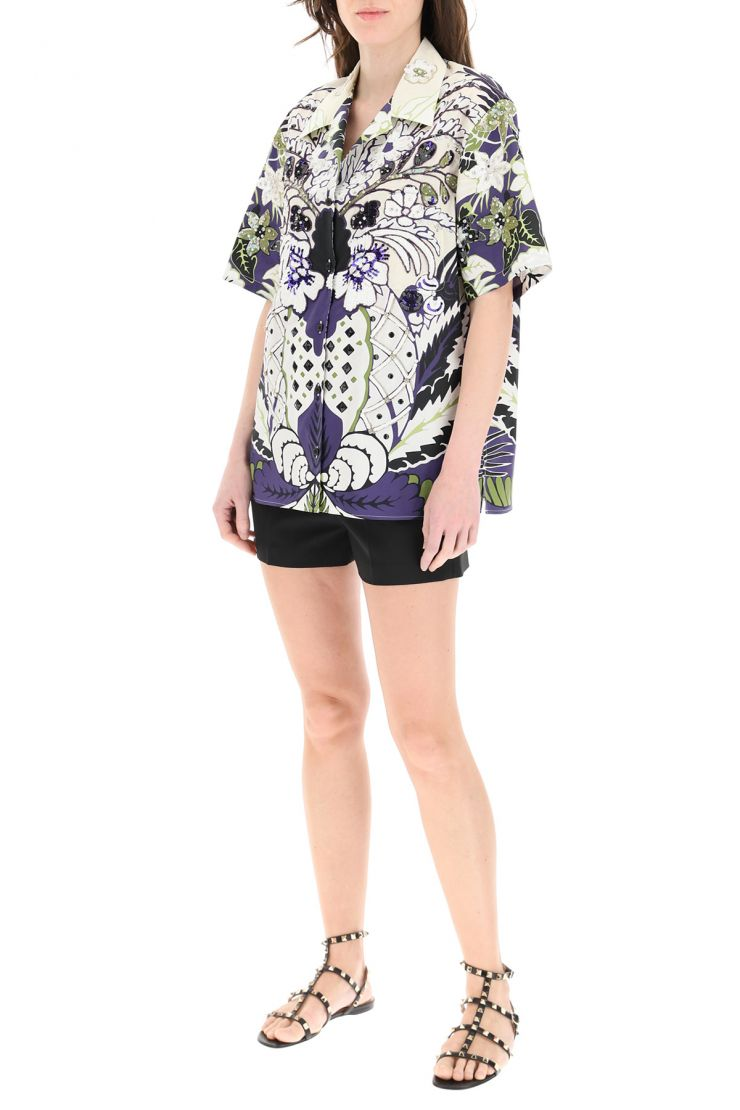 valentino shirts printed shirt with embroideries