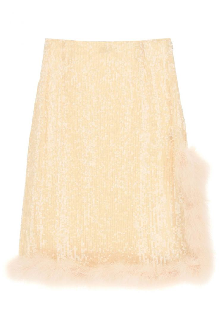 dries van noten skirts spany skirt with sequins and feathers