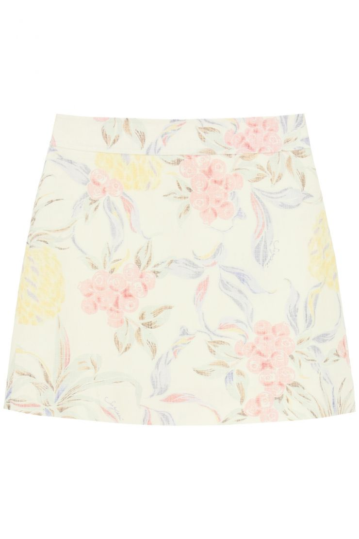 see by chloe what to wear mini skirt with spring fruits print