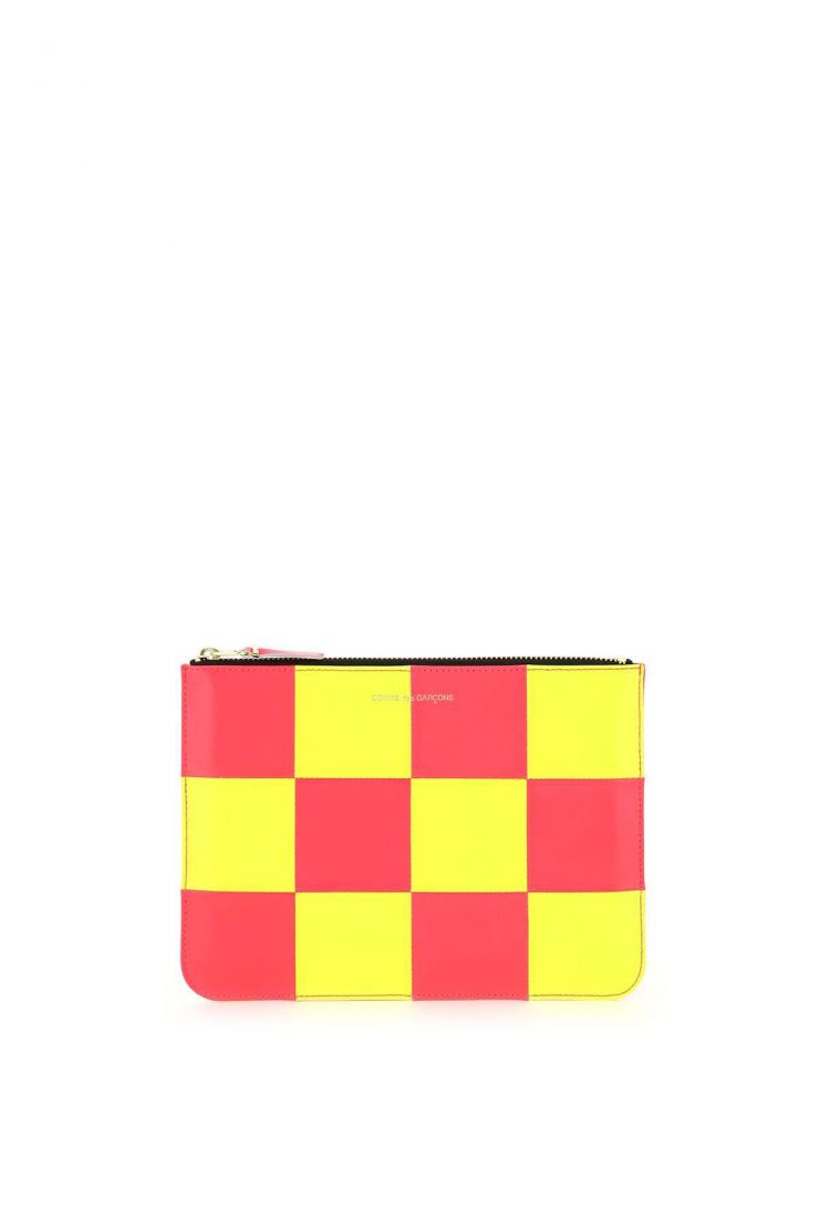 comme des garcons wallet small leather goods fluo squares leather pouch
