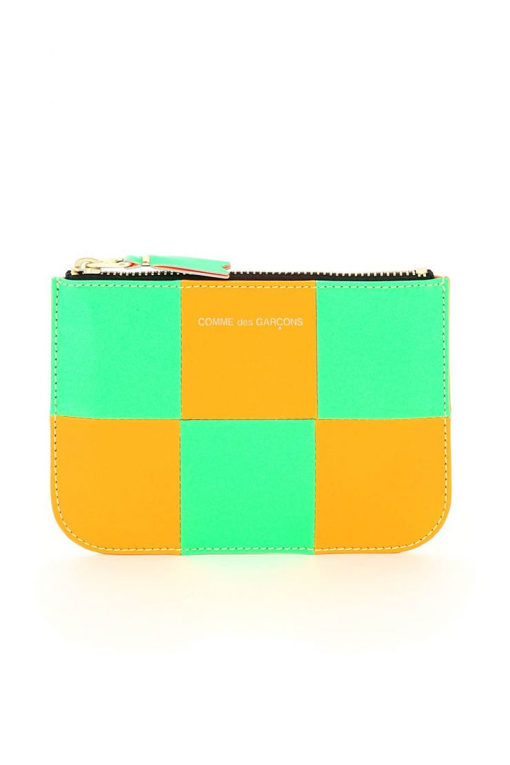 comme des garcons wallet small leather goods fluo squares pouch