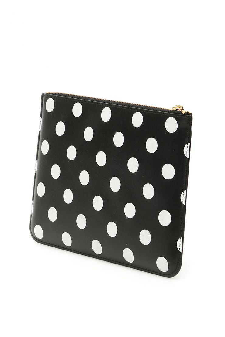 comme des garcons wallet small leather goods polka dots pouch