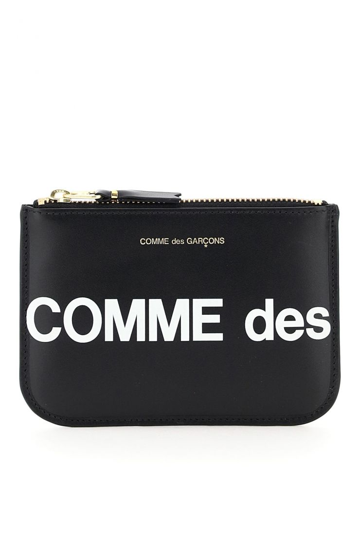 comme des garcons wallet small leather goods pouch with huge logo