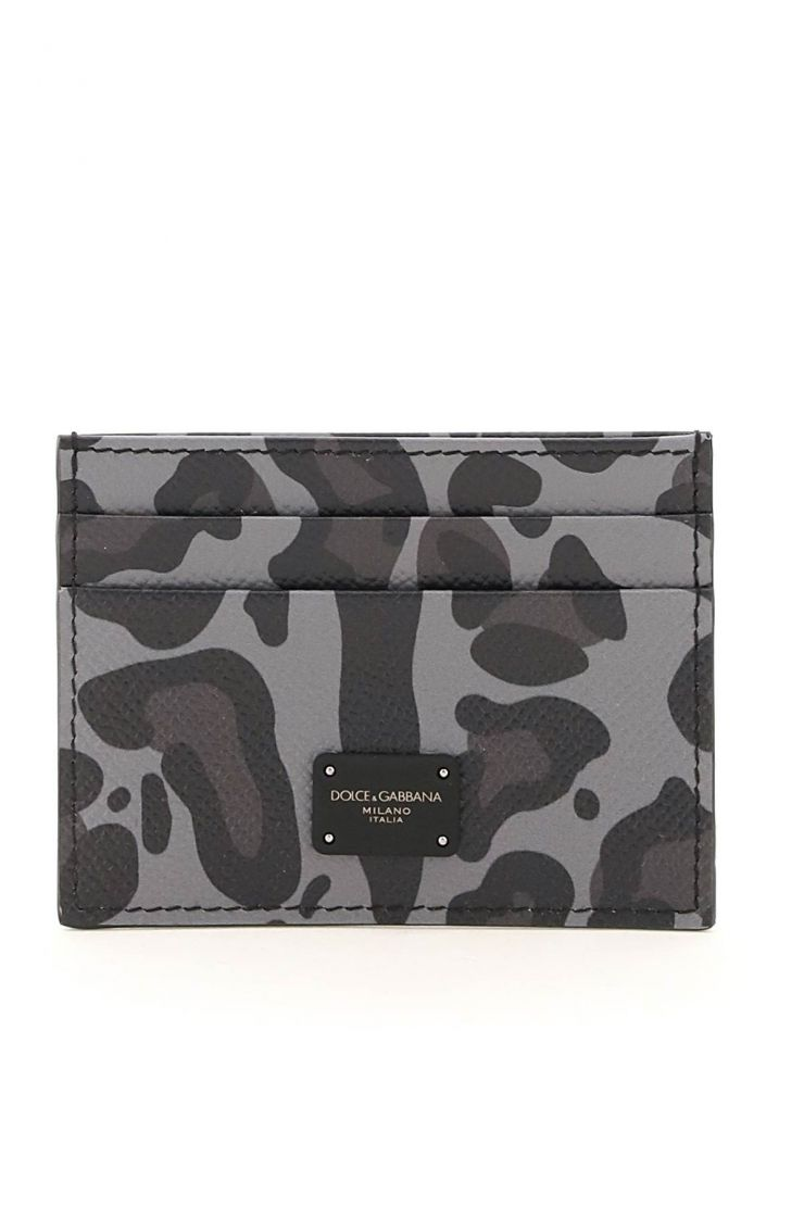 dolce & gabbana small leather goods leopard print card holder