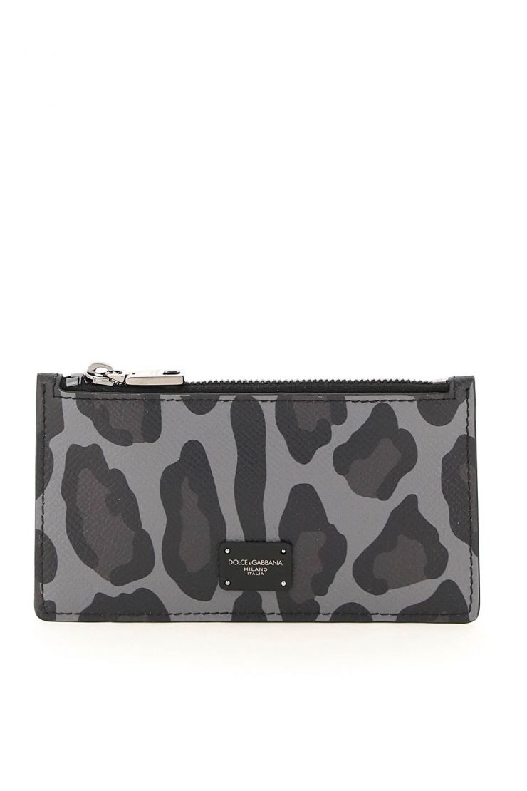 dolce & gabbana small leather goods leopard print zipped card holder
