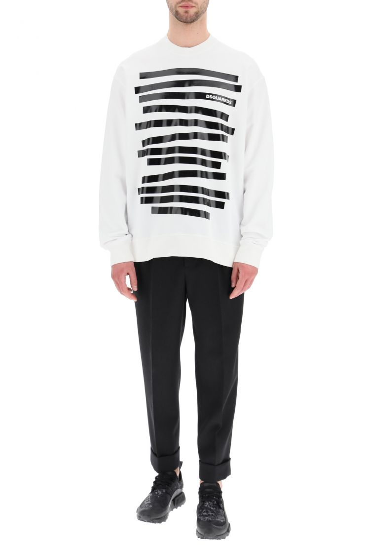 dsquared2 sportswear sweatshirt with stripes and logo