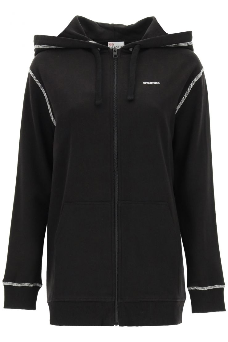 red valentino fashionable fitness  full zip hoodie with logo