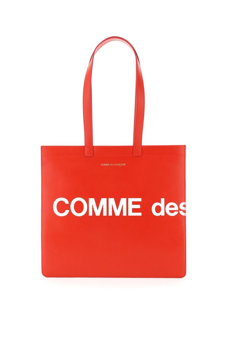 comme des garcons wallet tote bags leather tote bag with logo