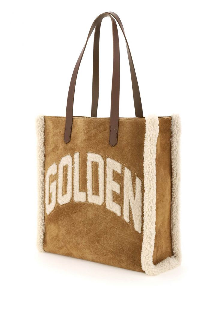 golden goose tote bags california north-south bag with shearling detail