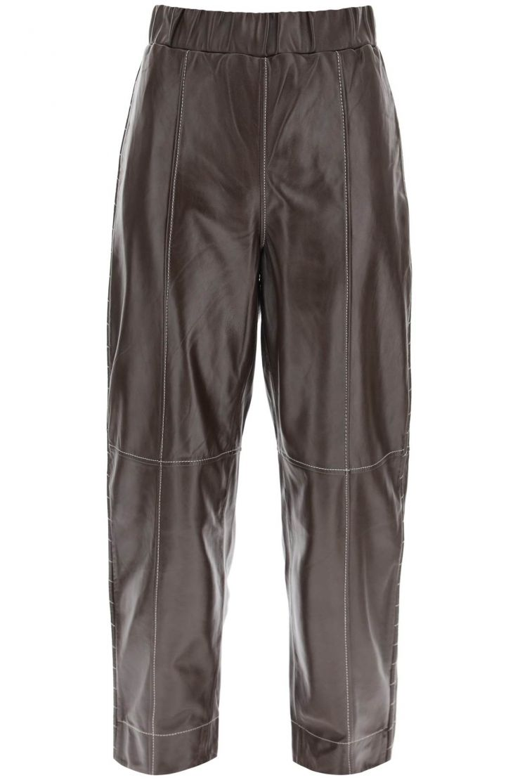 ganni trousers leather trousers