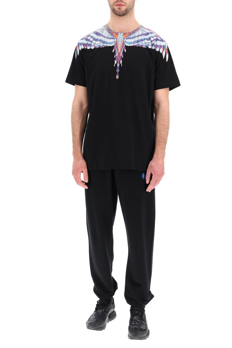 marcelo burlon activewear for life fire cross jogging trousers with ethnic ribbon