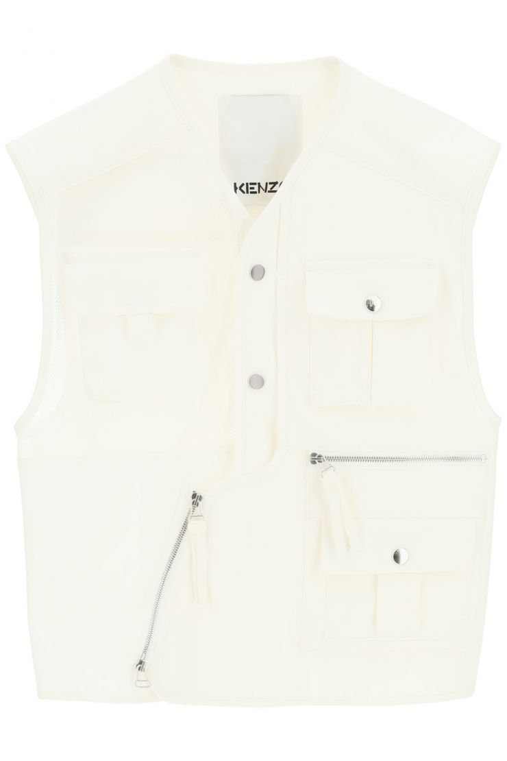 kenzo vests utility vest in canvas and mesh
