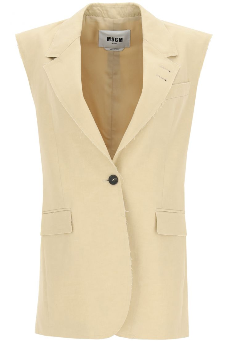 msgm vests single-breasted vest in cotton and linen