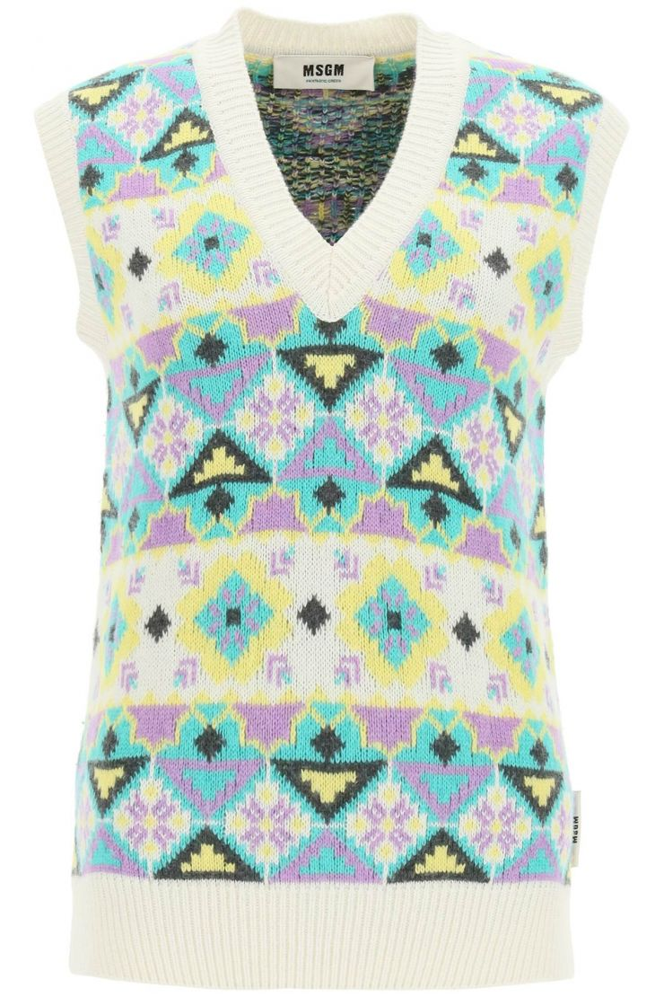 msgm vests vest with patterned embroidery