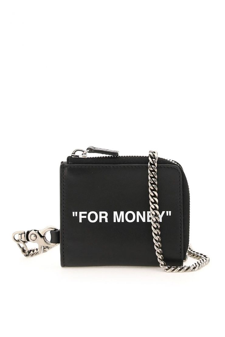 off-white wallets quote coin purse with chain