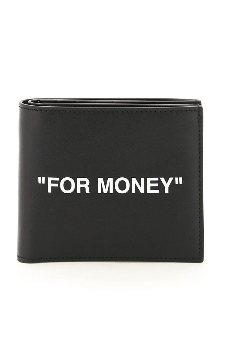 off-white wallets quote leather bi-fold wallet