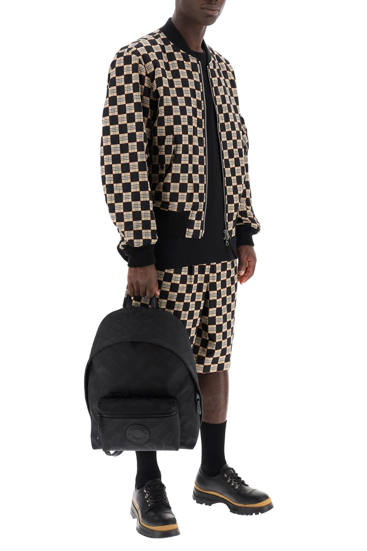burberry clothing men chequered and check bomber jacket