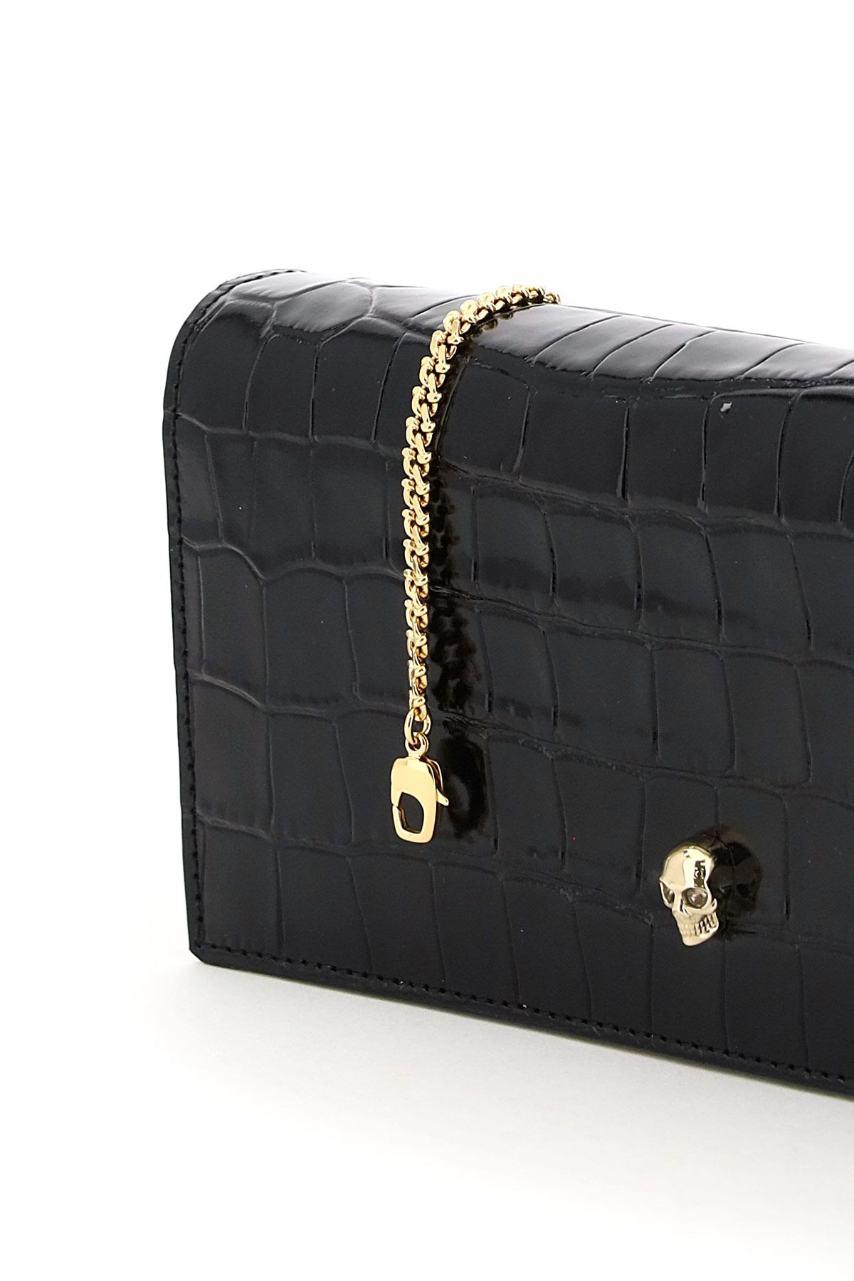 alexander mcqueen bags women leather wallet on chain with skull