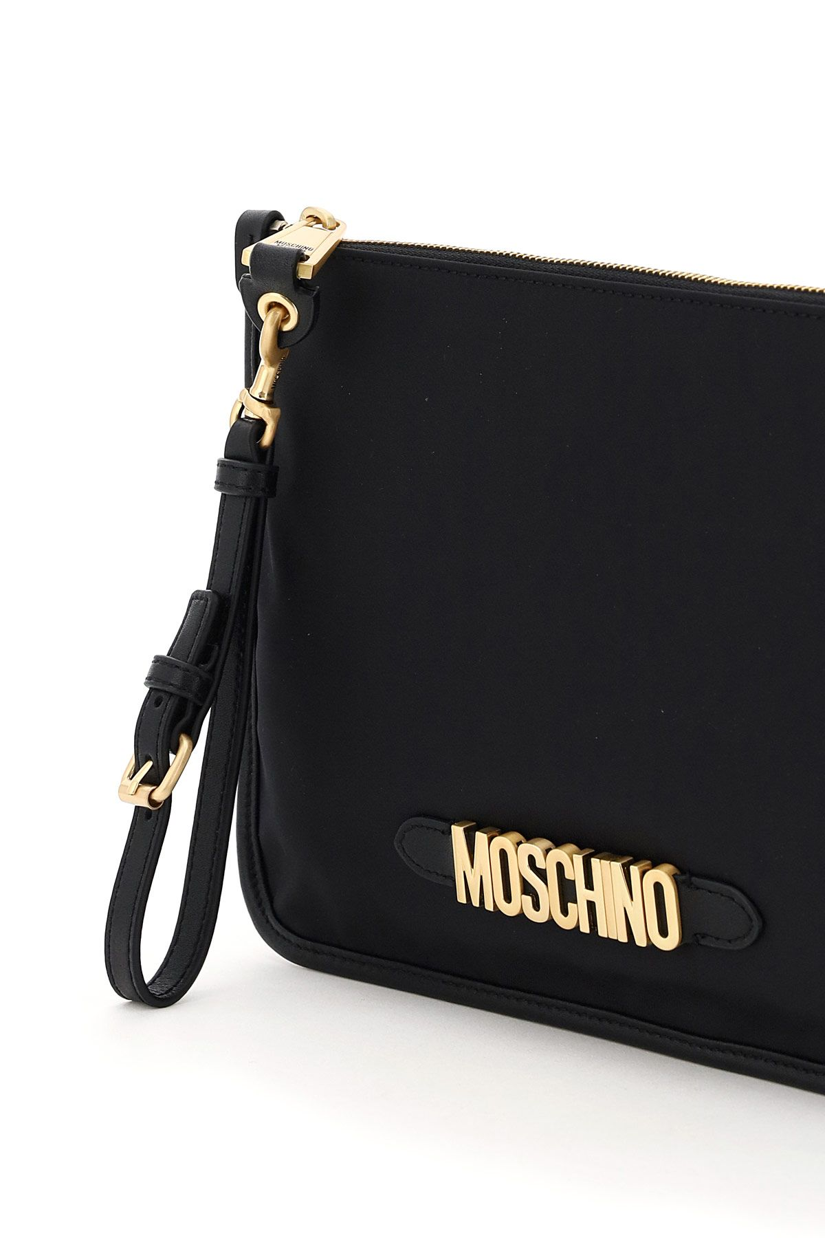 moschino bags women fabric pouch moschino lettering