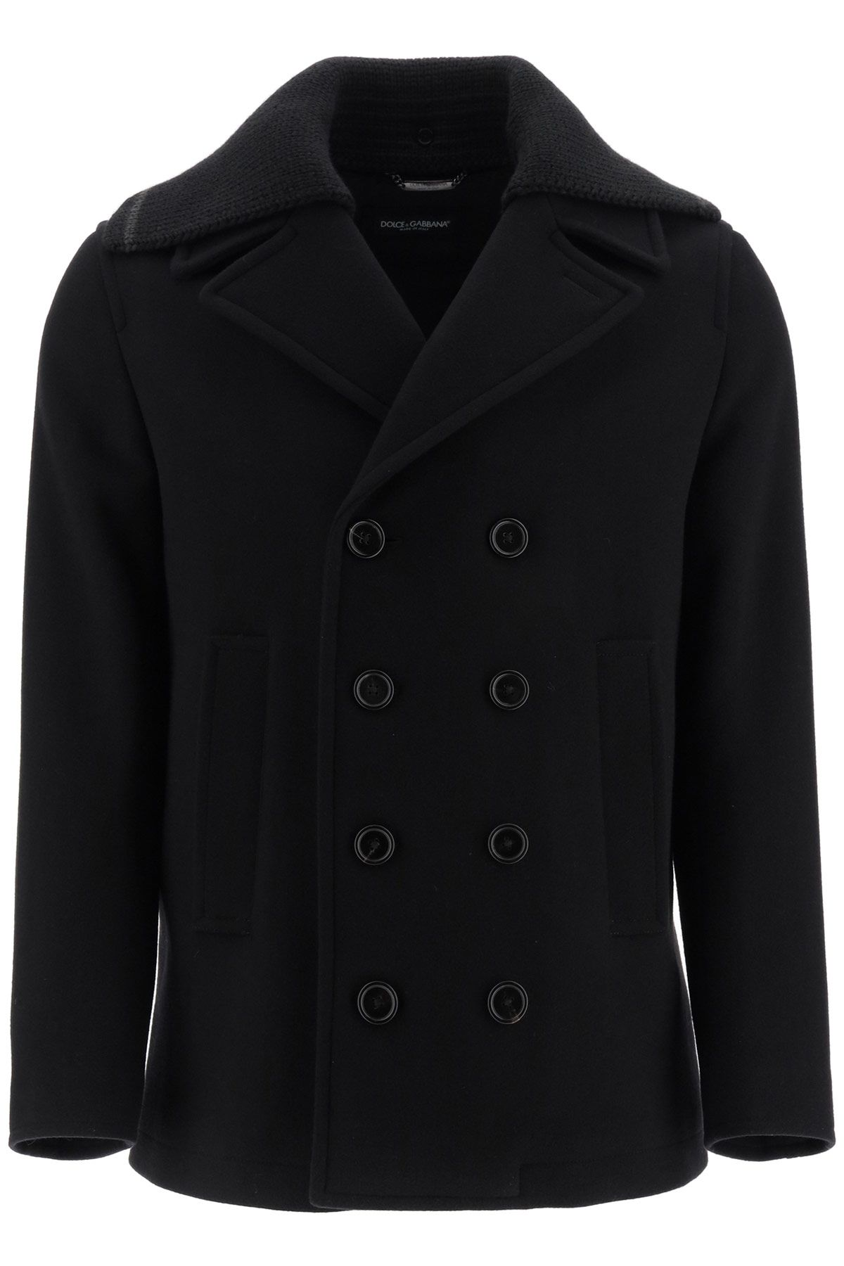 dolce & gabbana clothing men peacoat with wool collar