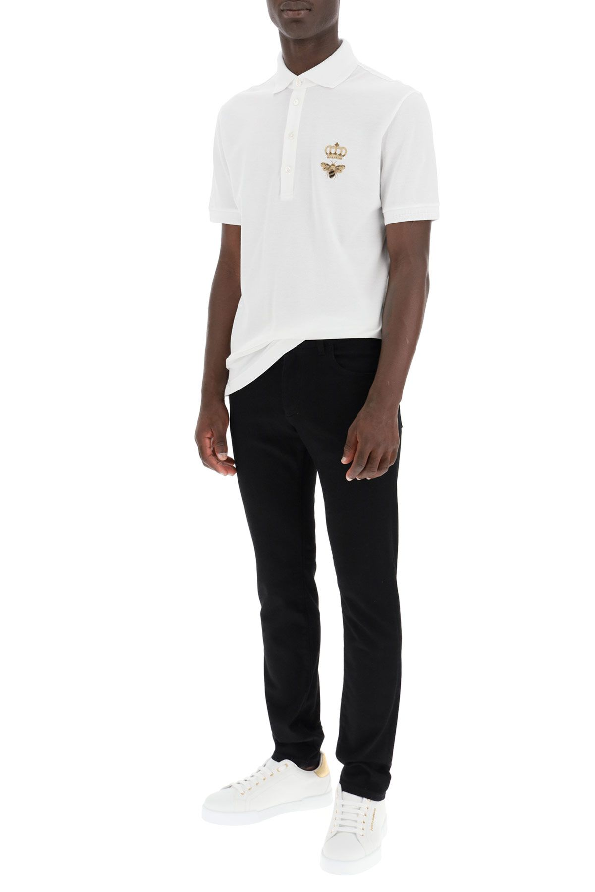 dolce & gabbana clothing men crown and bee polo shirt