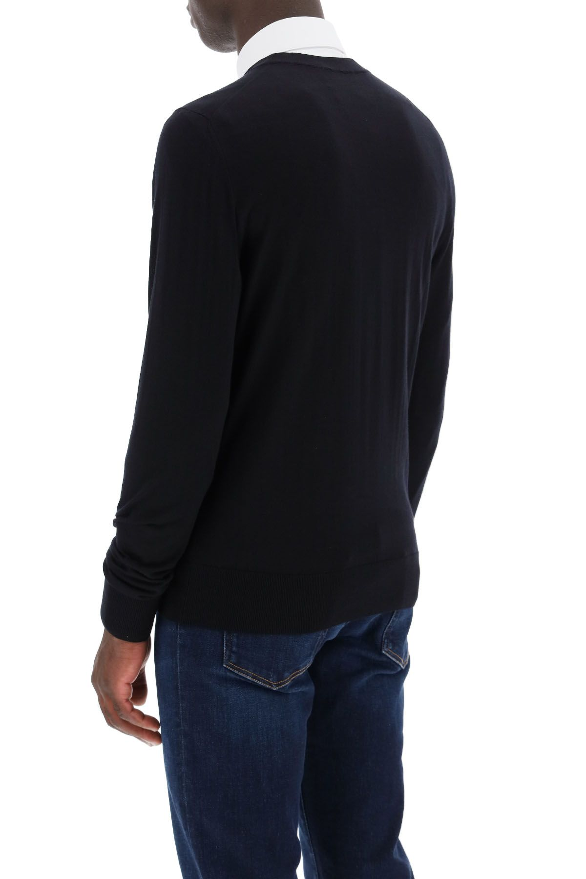 dolce & gabbana clothing men combed wool sweater dg embroidery