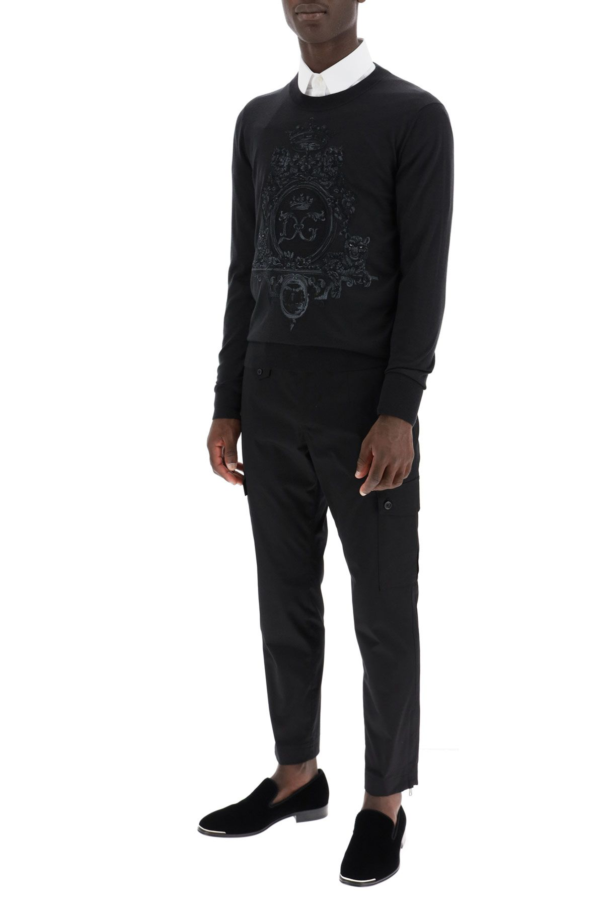 dolce & gabbana clothing men wool sweater with heraldic embroidery