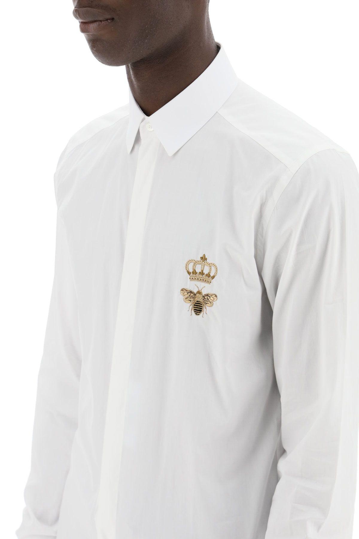 dolce & gabbana clothing men shirt with crown and bee embroidery