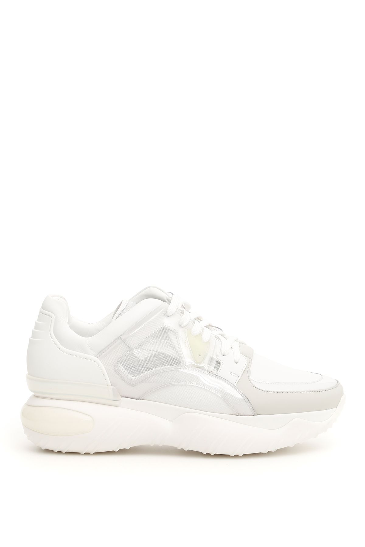 fendi shoes men leather and mesh sneakers