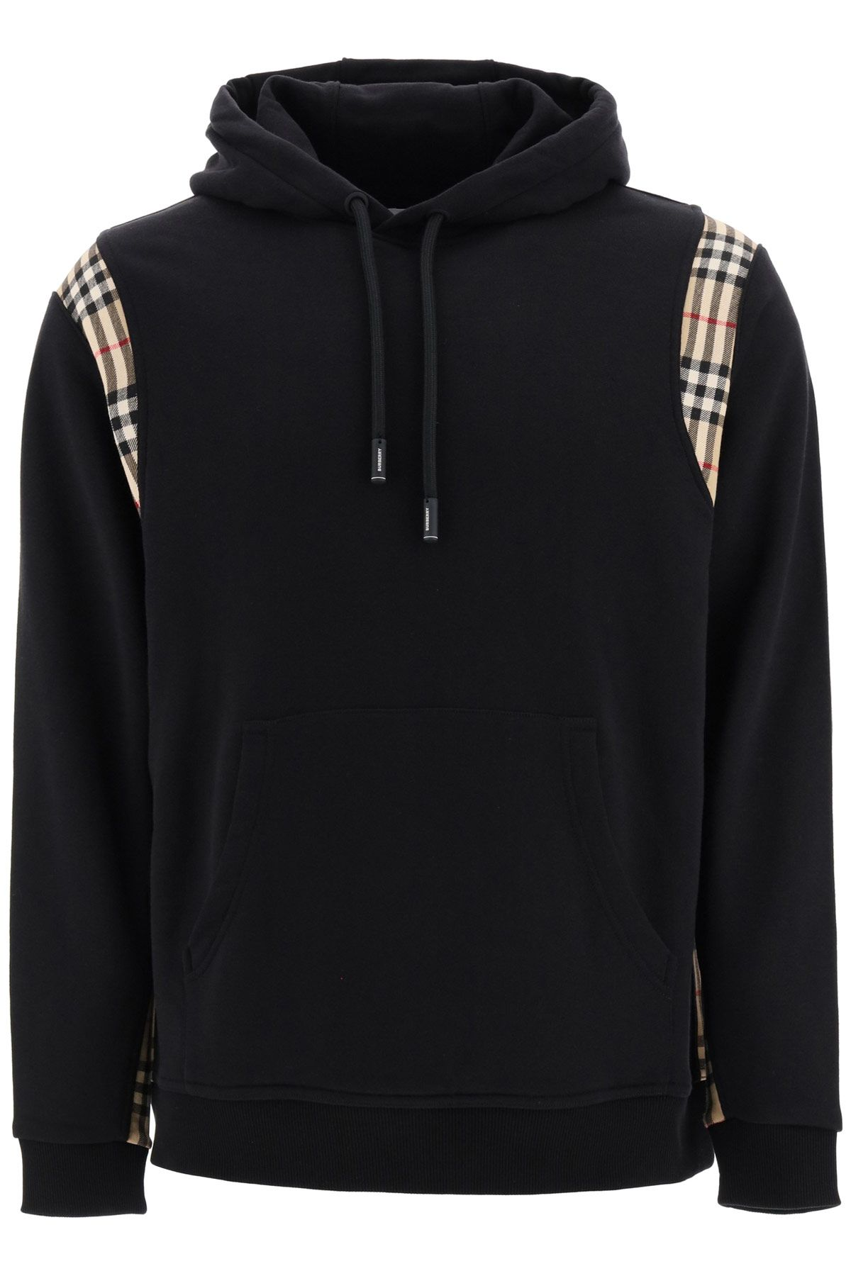 burberry clothing men hoodie with check inserts