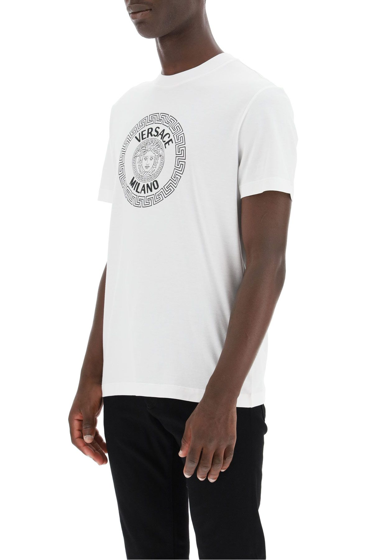 versace clothing men t-shirt with medusa print and logo embroidery