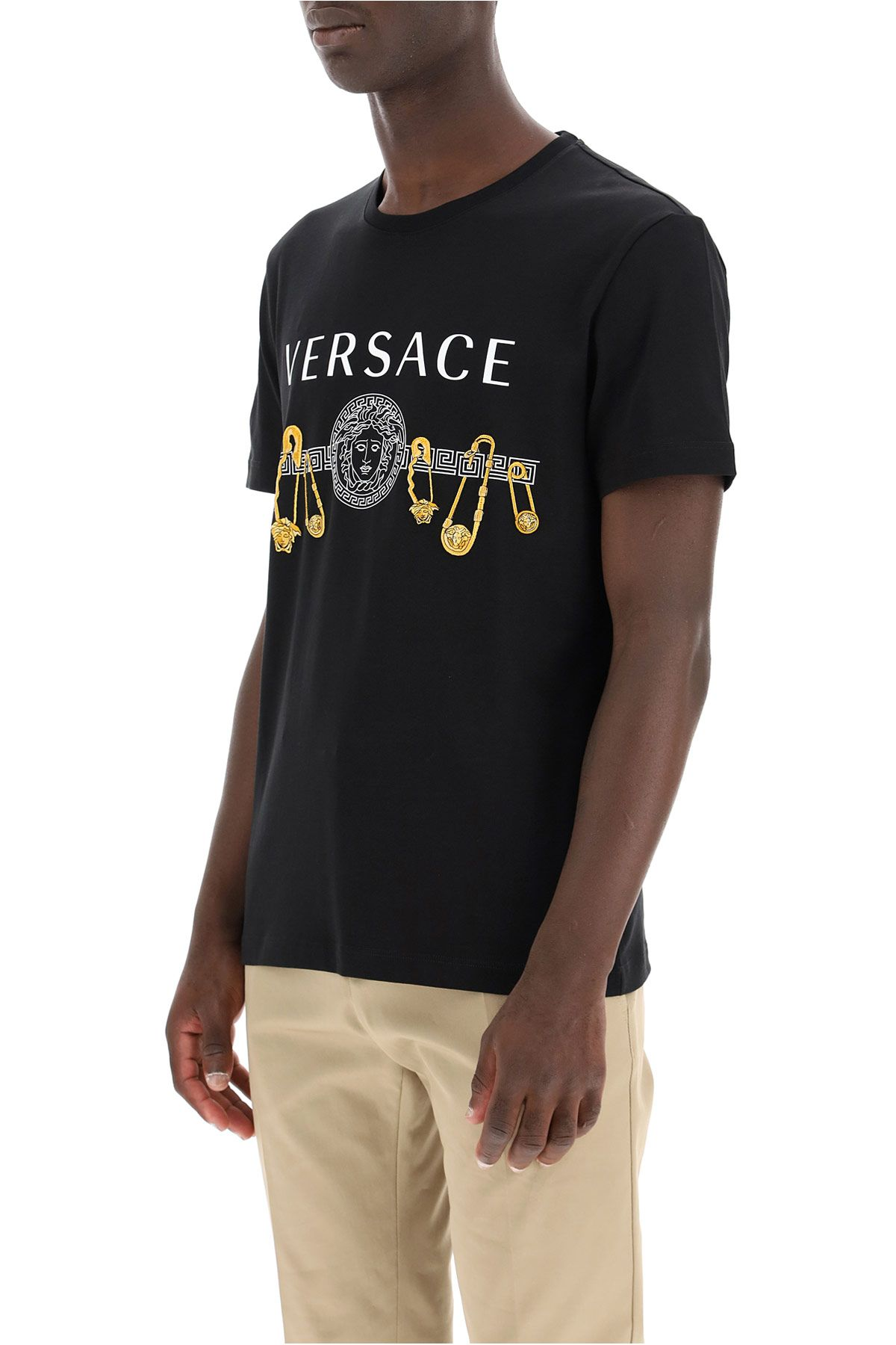 versace clothing men t-shirt with safety pin embroidery