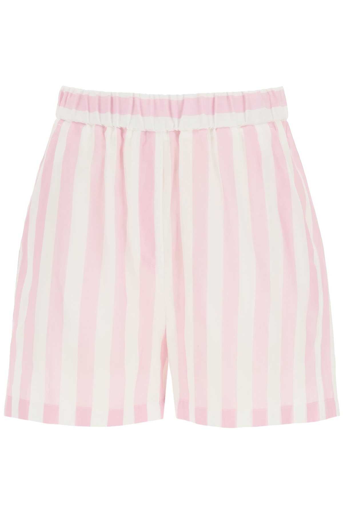 Msgm Striped Shorts In Pink,white