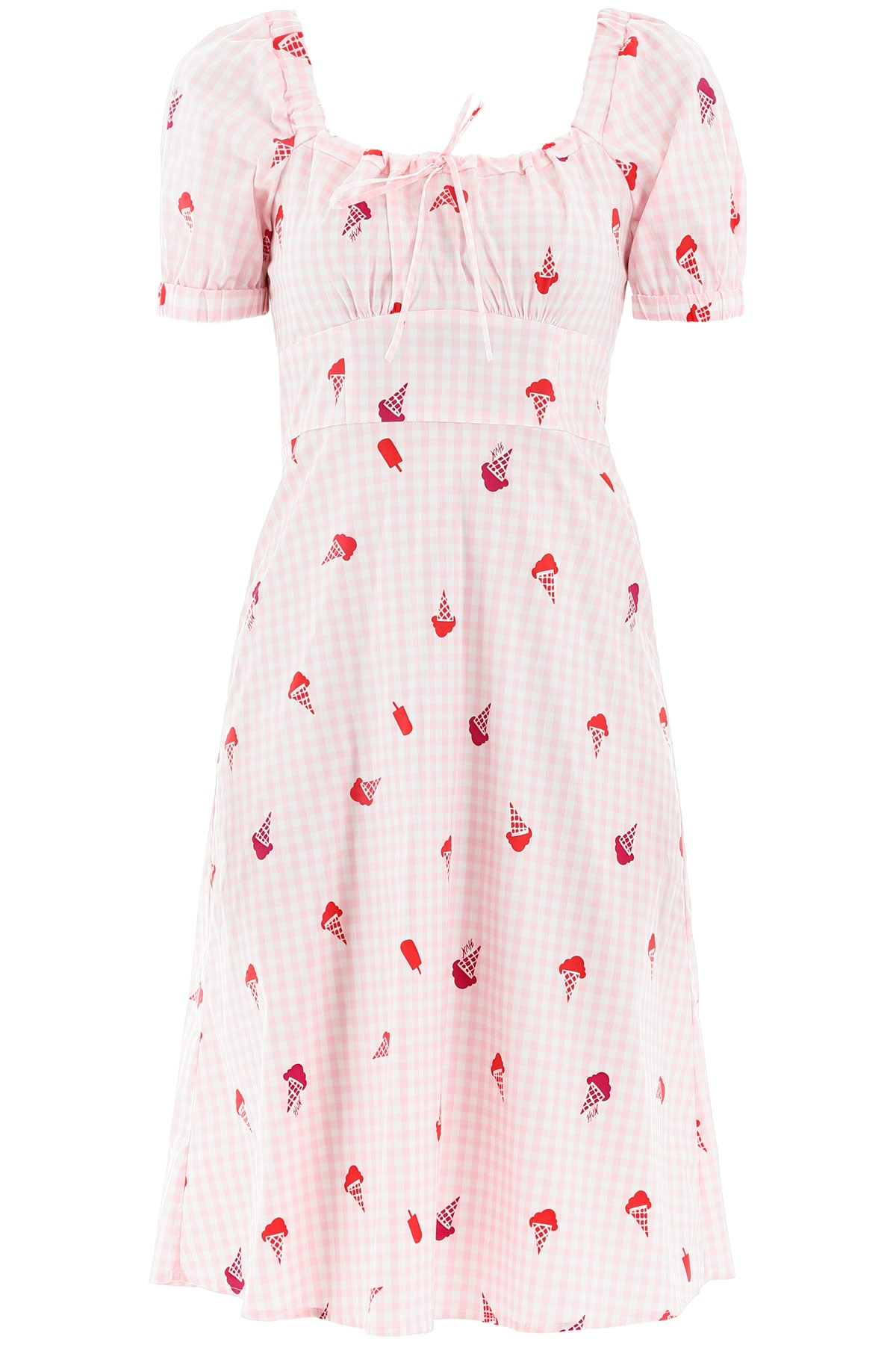 HVN HOLLAND ICE CREAM DRESS 4 Pink, White, Red Cotton