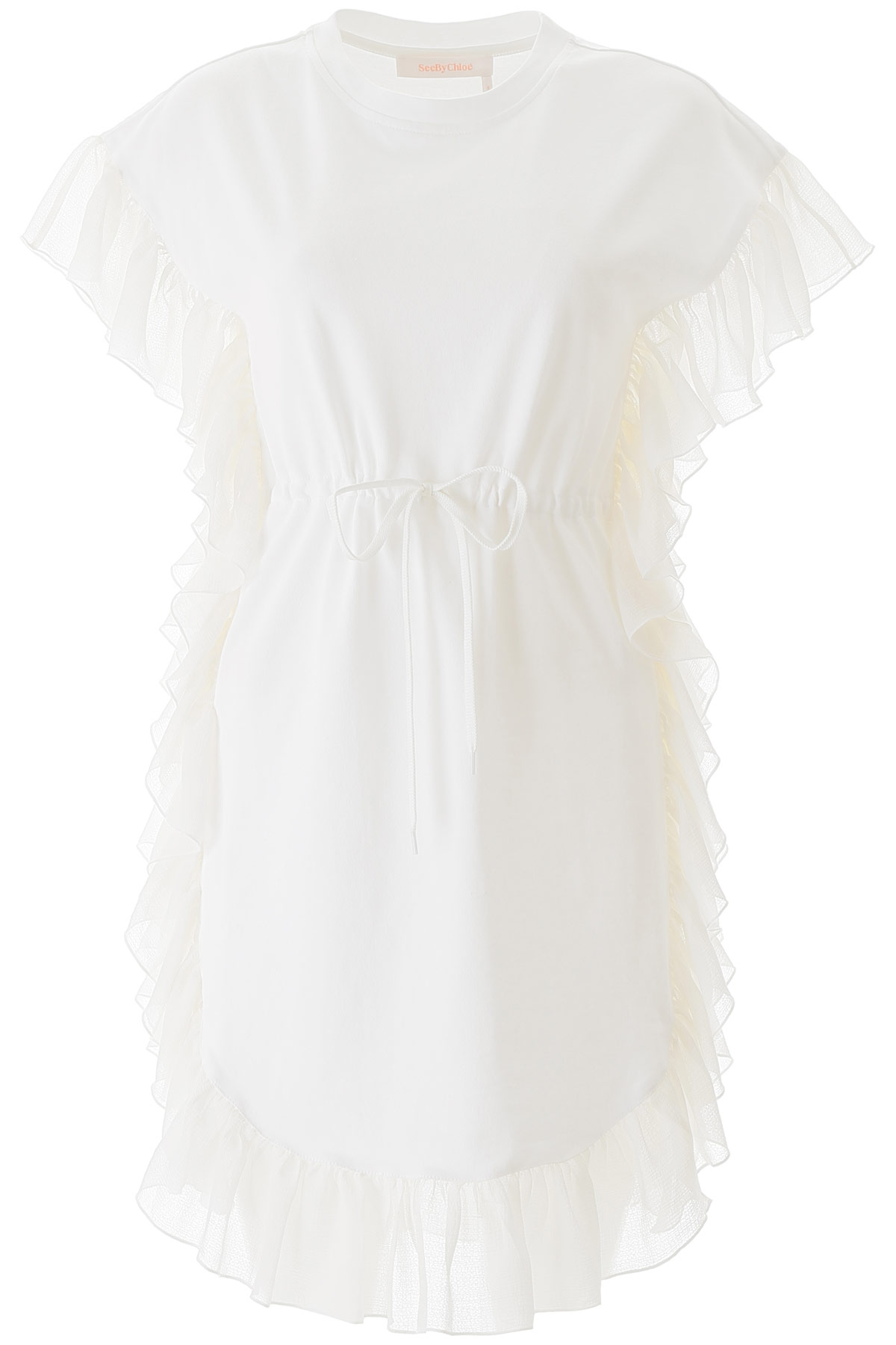 SEE BY CHLOE RUFFLED DRESS M White Cotton