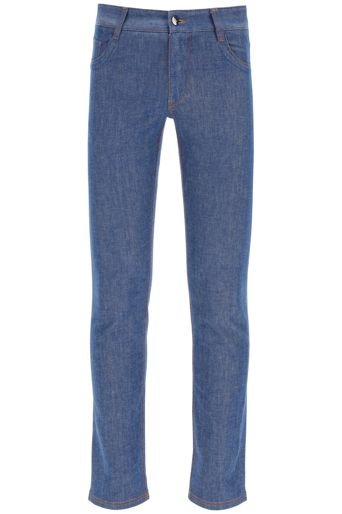 FENDI JEANS WITH EMBOSSED LOGO 32 Blue Cotton, Denim