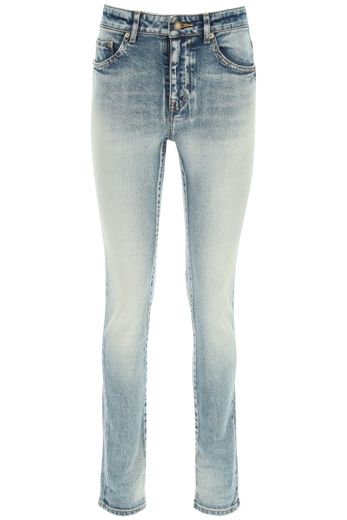 SAINT LAURENT SKINNY DENIM JEANS 28 Blue, Light blue Cotton, Denim