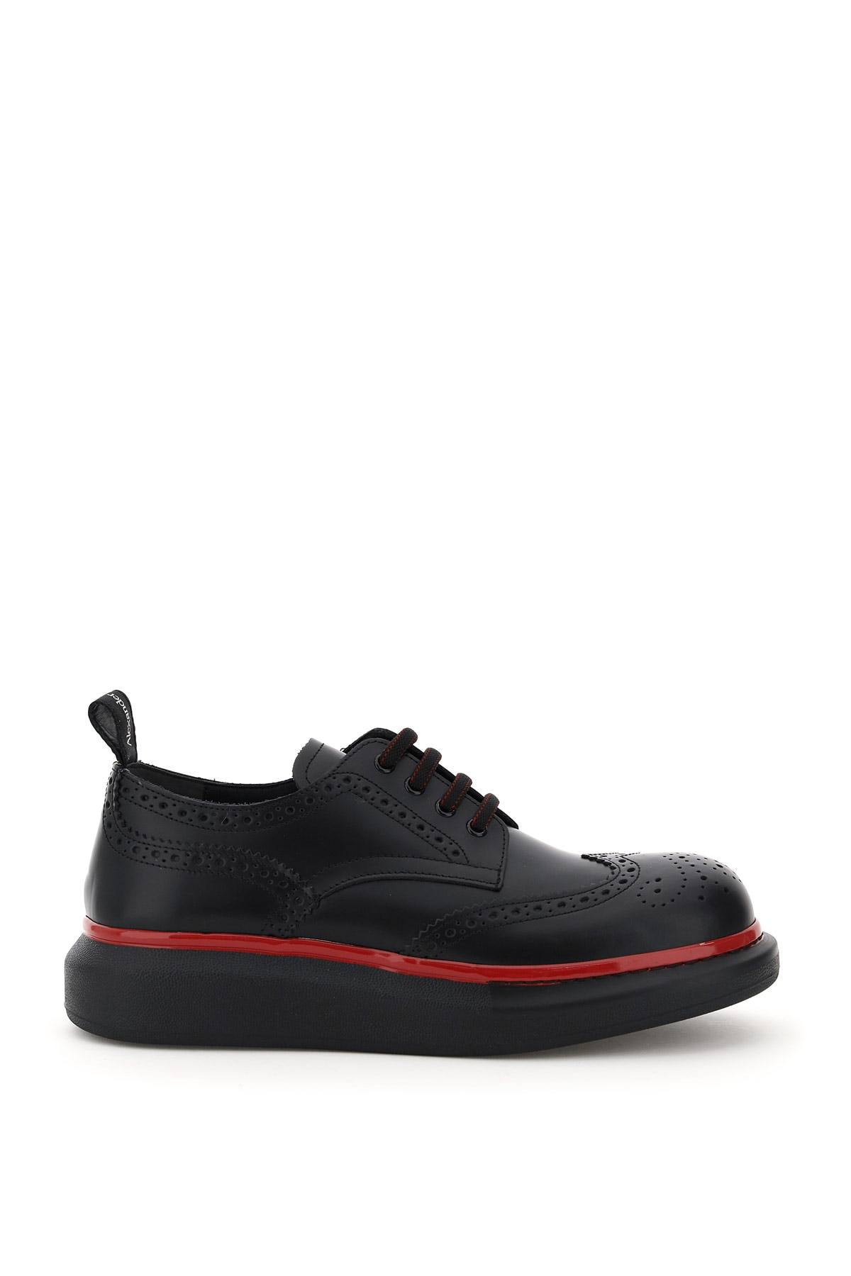 ALEXANDER MCQUEEN HYBRID LACE-UP SHOES 44 Black, Red Leather