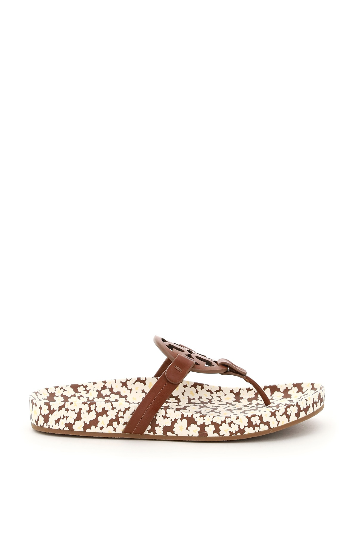 TORY BURCH MILLER CLOUD LEATHER MULES 7 Brown, White Leather