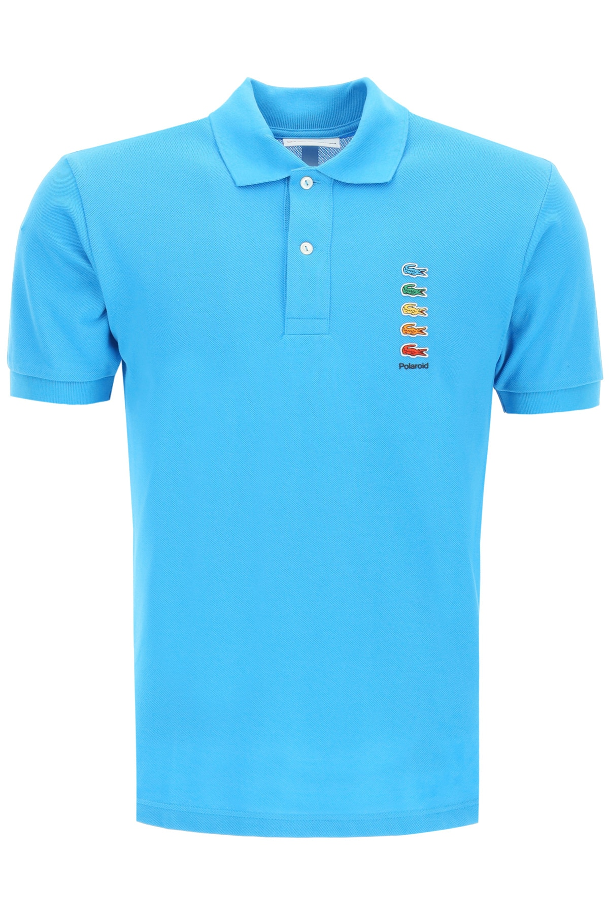 LACOSTE X POLAROID POLO SHIRT WITH COLORFUL CROCODILES 6 Blue, Light blue Cotton