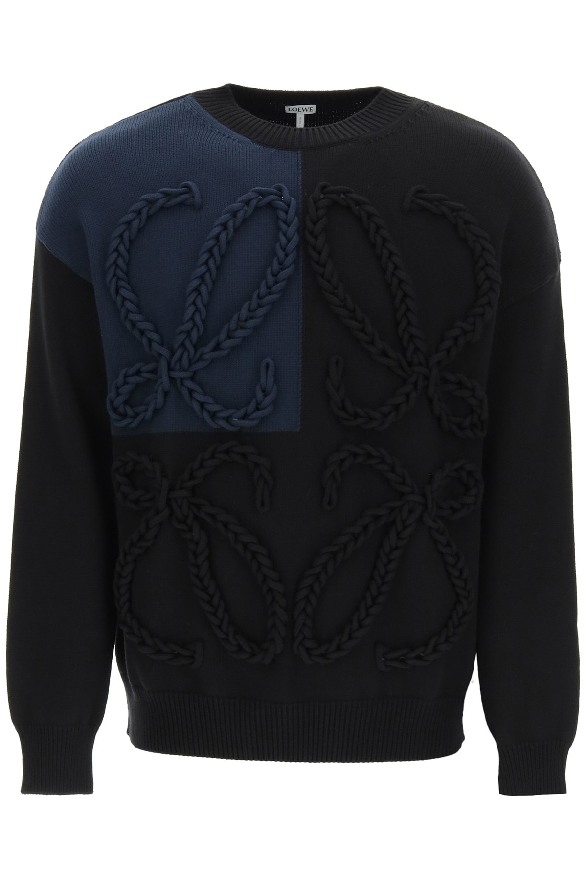 Loewe Anagram Embroidered Sweater S Blue, Black Cotton