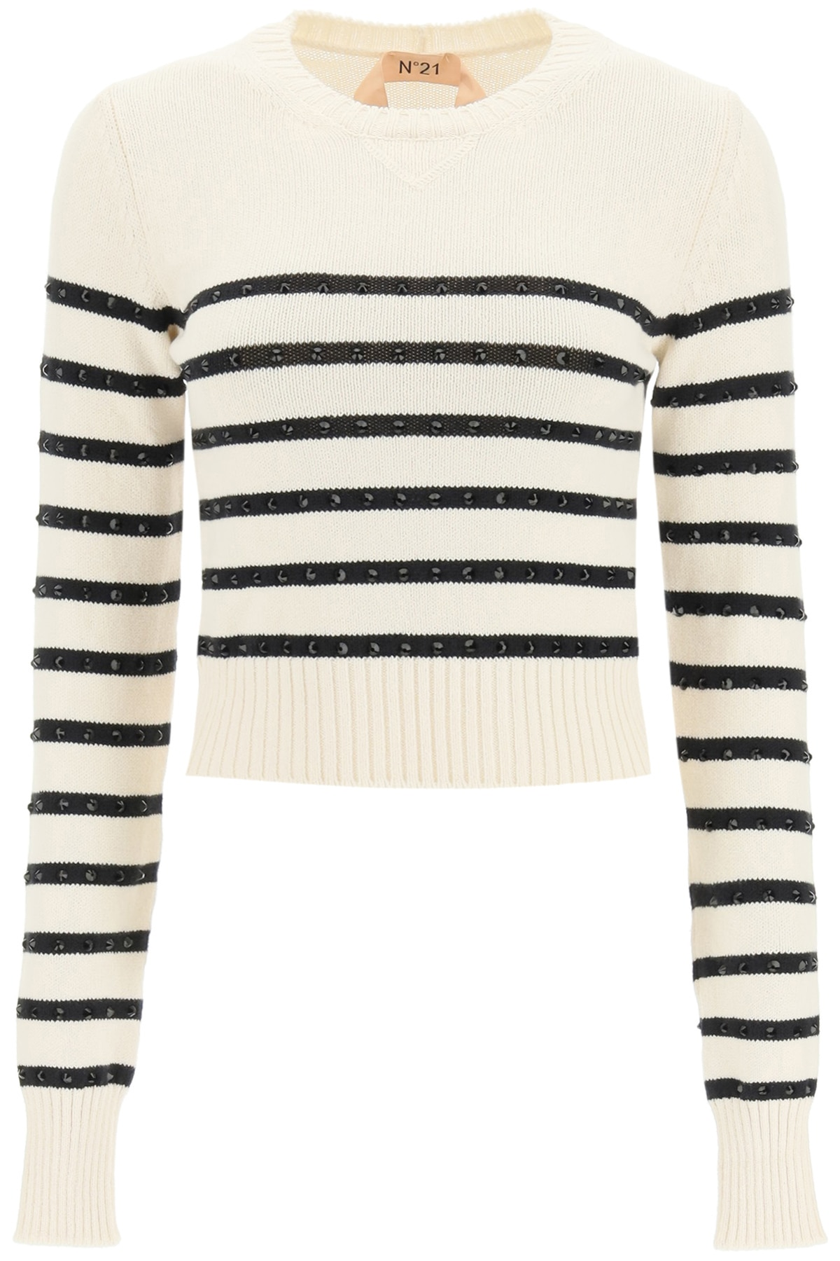 N°21 STRIPED SWEATER WITH CRYSTALS