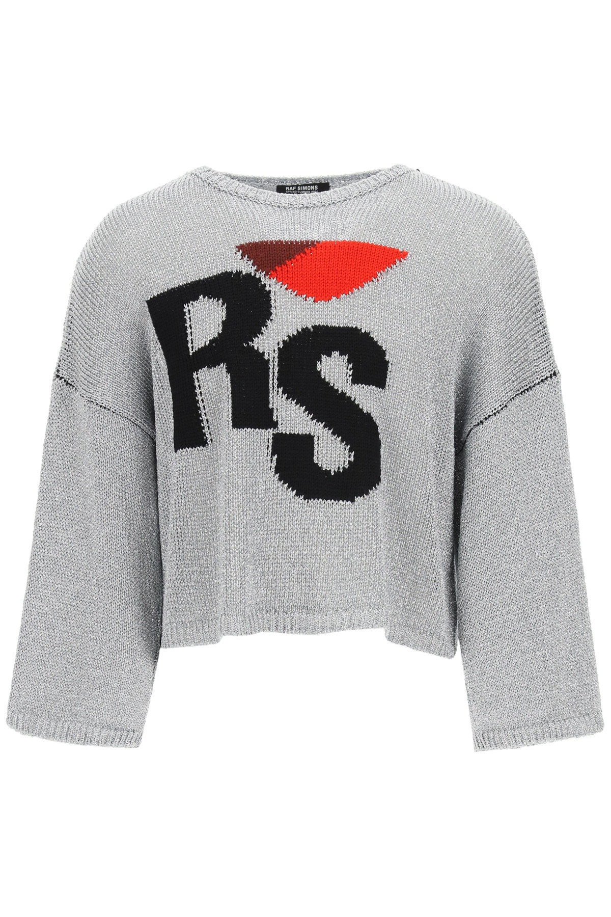 RAF SIMONS OVERSIZED SWEATER RS EMBROIDERY XS Silver, Black, Red Wool